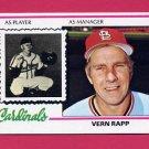 1978 Topps Baseball #324 Vern Rapp MG RC - St. Louis Cardinals