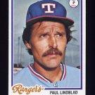 1978 Topps Baseball #314 Paul Lindblad - Texas Rangers