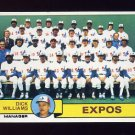 1979 Topps Baseball #606 Montreal Expos Team Checklist (Marked) / Dick Williams MG Ex