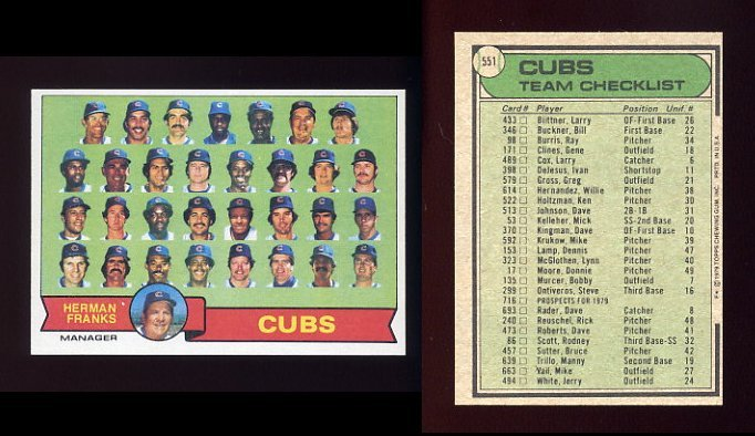1979 Topps Baseball 551 Chicago Cubs Team Checklist