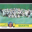 1979 Topps Baseball #356 San Francisco Giants Team Checklist / Joe Altobelli MG NM-M