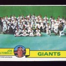 1979 Topps Baseball #356 San Francisco Giants Team Checklist / Joe Altobelli MG Ex
