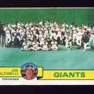 1979 Topps Baseball #356 San Francisco Giants Team Checklist / Joe Altobelli MG Vg