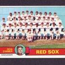 1979 Topps Baseball #214 Boston Red Sox Team Checklist / Don Zimmer MG Ex