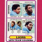 1980 Topps Football #488 Detroit Lions Team Leaders