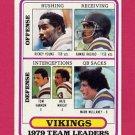 1980 Topps Football #207 Minnesota Vikings Team Leaders / Ahmad Rashad