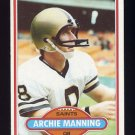 1980 Topps Football #093 Archie Manning - New Orleans Saints VgEx