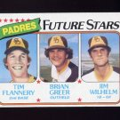 1980 Topps Baseball #685 Tim Flannery RC / Brian Greer RC / Jim Wilhelm RC - San Diego Padres Ex