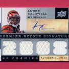 2008 Upper Deck Premier #114 Andre Caldwell RC - Bengals Quad Game-Used Jerseys AUTO 328/375