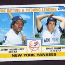 1983 Topps Baseball #081 New York Yankees TL / Jerry Mumphrey / Dave Righetti