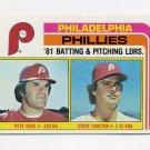 1982 Topps Baseball #636 Philadelphia Phillies Team Checklist Pete Rose / Steve Carlton NM-M