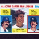 1984 Topps Baseball #717 AL Active Career ERA Leaders Jim Palmer / Rollie Fingers / Ron Guidry