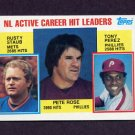 1984 Topps #702 NL Active Career Hit Leaders Pete Rose / Rusty Staub / Tony Perez