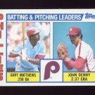 1984 Topps Baseball #637 Philadelphia Phillies TL Gary Matthews / John Denny / Team Checklist NM-M