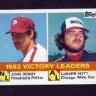 1984 Topps Baseball #135 Victory League Leaders John Denny / LaMarr Hoyt