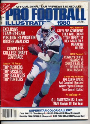 1980 Pro Football Illustrated with O.J. Anderson of the  St. Louis Cardinals On The Cover