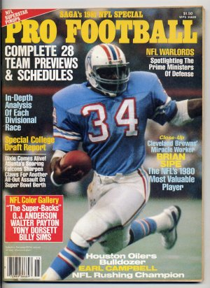 1981 SAGA's Pro Football with Earl Campbell of  the Houston Oilers on the Cover