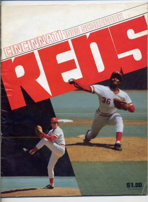 1983 Cincinnati Reds Scorebook with Tome Hume and Mario Soto on the Cover