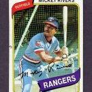 1980 Topps Baseball #485 Mickey Rivers - Texas Rangers G