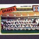 1980 Topps Baseball #192 Atlanta Braves Team Checklist / Bobby Cox