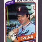 1980 Topps Baseball #162 Bob Randall - Minnesota Twins