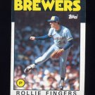 1986 Topps Baseball #185 Rollie Fingers - Milwaukee Brewers
