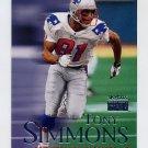 1999 Skybox Premium Football #129 Tony Simmons - New England Patriots