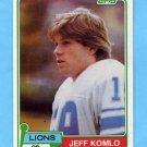 1981 Topps Football #511 Jeff Komlo - Detroit Lions