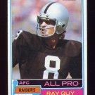 1981 Topps Football #510 Ray Guy - Oakland Raiders VgEx