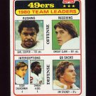 1981 Topps Football #319 San Francisco 49ers TL / Dwight Clark Vg