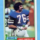 1981 Topps Football #201 Fred Smerlas RC - Buffalo Bills