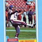 1981 Topps Football #164 Luke Prestridge - Denver Broncos