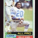 1981 Topps Football #100 Billy Sims RC - Detroit Lions Vg