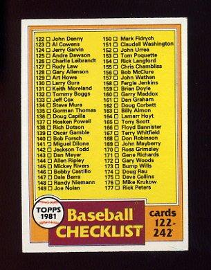 1981 Topps Baseball #241 Checklist 122-242 Ex