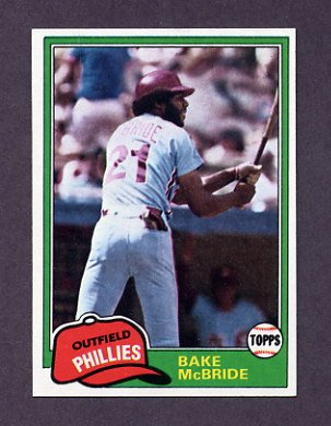 1981 Topps Baseball #090 Bake McBride - Philadelphia Phillies NM-M