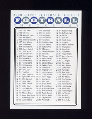 2008 Topps Football #NNO Series 1 Checklist Card 2 of 4