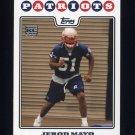 2008 Topps Football #411 Jerod Mayo RC - New England Patriots