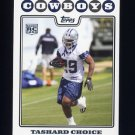 2008 Topps Football #357 Tashard Choice RC - Dallas Cowboys