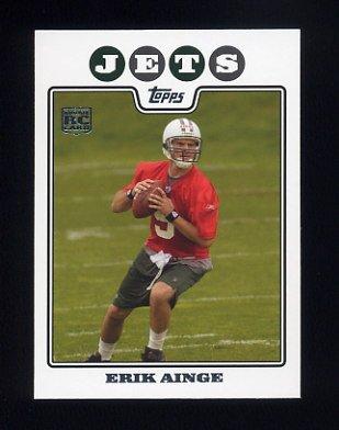 2008 Topps Football #339 Erik Ainge RC - New York Jets