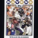 2008 Topps Football #084 Willis McGahee - Baltimore Ravens