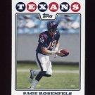 2008 Topps Football #029 Sage Rosenfels - Houston Texans
