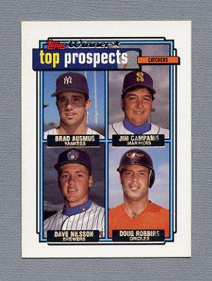 1992 Topps Baseball Gold Winners #058 Brad Ausmus RC / Jim Campanis / Dave Nilsson / Doug Robbins
