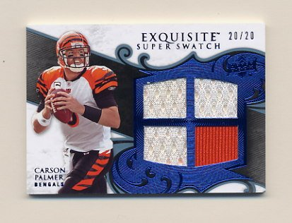 2008 Exquisite Football Super Swatch Blue #SSCP Carson Palmer - Bengals Game-Used Jersey 20/20