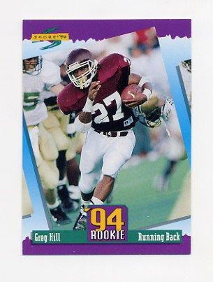 1994 Score Football #283 Greg Hill RC - Kansas City Chiefs