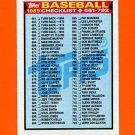 1989 Topps Baseball #782 Checklist 661-792 ExMt