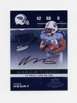 2007 Playoff Contenders Football #127 Chris Henry RC - Tennessee Titans AUTO Rookie Ticket