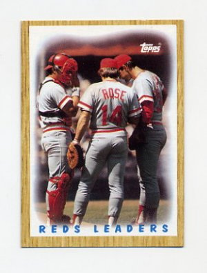 1987 Topps Baseball 281 Cincinnati Reds Team Leaders Pete