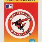 1991 Fleer Baseball Team Logo Stickers The Baltimore Orioles Team Logo