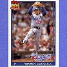 1991 Topps Baseball #080A Fernando Valenzuela - Los Angeles Dodgers ERROR