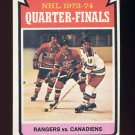 1974-75 Topps Hockey #210 Quarter Finals / New York Rangers over Montreal Canadiens